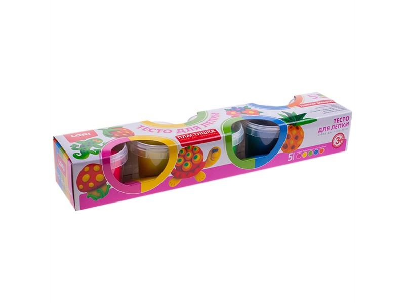 """Тесто для лепки Lori """"Пластишка"""", 05 цветов*80г, яркие цвета, картон"""