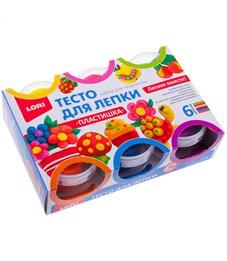 """Тесто для лепки Lori """"Пластишка"""", 06 цветов*80г, яркие цвета, картон"""