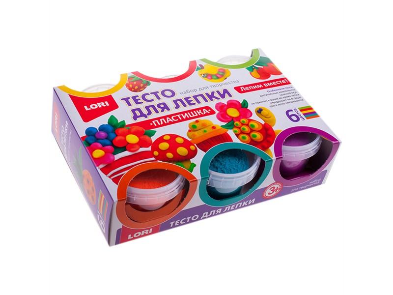 """Тесто для лепки Lori """"Пластишка"""", 06 цветов*80г, классические цвета, картон"""
