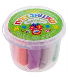 """Тесто для лепки Lori """"Пластишка"""", 12 цветов*24г, пластиковый стакан"""