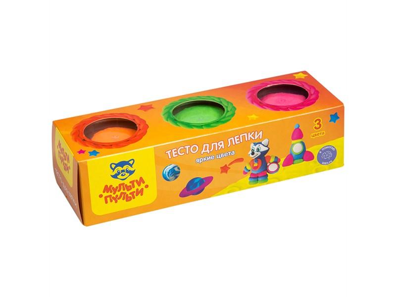 """Тесто для лепки Мульти-Пульти """"Енот на Луне"""", 03 цвета*90г, яркие цвета, картон"""