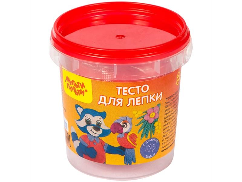 "Тесто для лепки Мульти-Пульти ""Приключения Енота"", красный, 120г, пластиковое ведро"