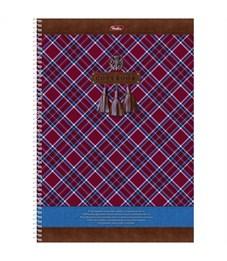 """Тетрадь 100л., А4, клетка на спирали Hatber """"Шотландка"""", с карманом, с перфорацией на отрыв"""
