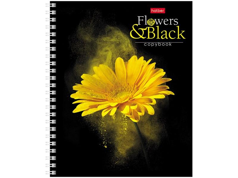 """Тетрадь 96л., А5, клетка на гребне Hatber """"Flower on black"""""""