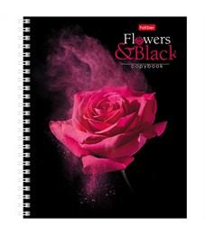 """Фото 2. Тетрадь 96л., А5, клетка на гребне Hatber """"Flower on black"""""""