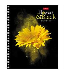 """Фото 3. Тетрадь 96л., А5, клетка на гребне Hatber """"Flower on black"""""""