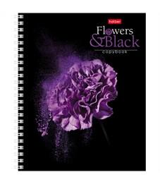 """Фото 4. Тетрадь 96л., А5, клетка на гребне Hatber """"Flower on black"""""""