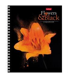 """Фото 5. Тетрадь 96л., А5, клетка на гребне Hatber """"Flower on black"""""""
