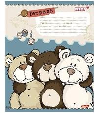 Тетрадь школьная Hatber Любимые мишки клетка, 12л.
