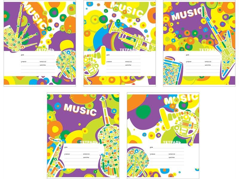 Тетрадь школьная Полиграфика Музыка вокруг, клетка, 24 листа, А5