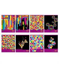Тетрадь школьная BG Цветочная геометрия, 48 листов., евроспираль, ассорти,  в клетку