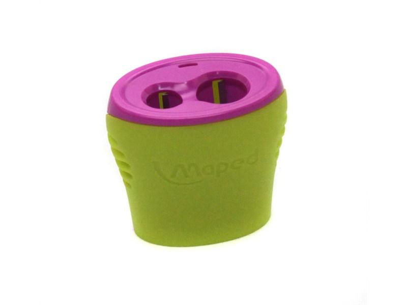 Точилка Maped Boogy, салатовый/розовый, с контейнером, 2 отверстия
