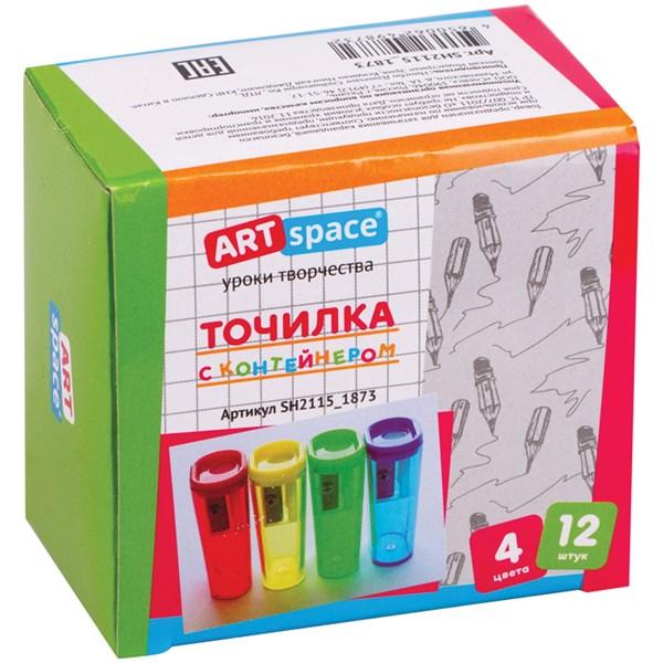 Точилка пластиковая ArtSpace, 1 отверстие, контейнер, ассорти