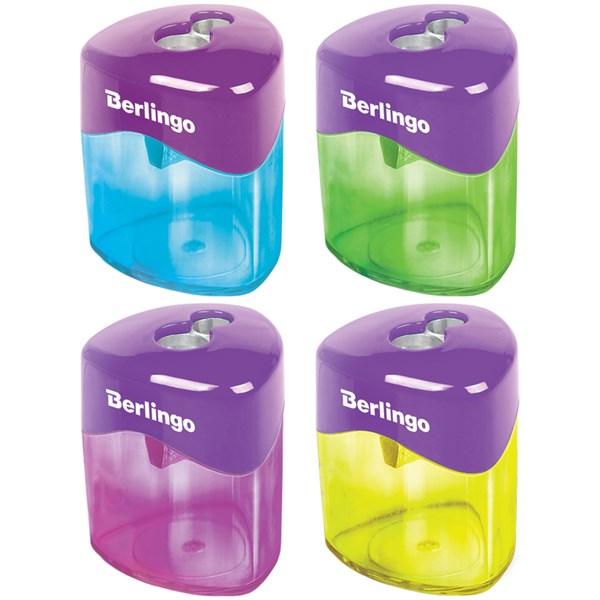 """Точилка пластиковая Berlingo """"DoubleColor"""", 2 отверстия, контейнер"""