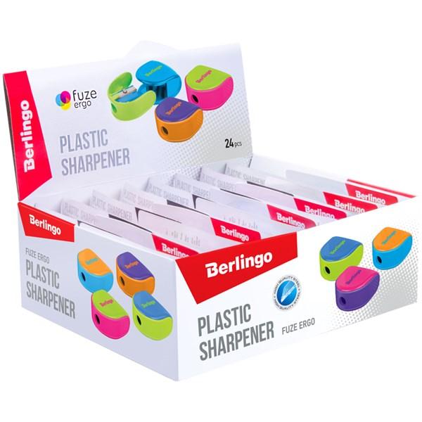 """Точилка пластиковая Berlingo """"Fuze Ergo"""", 1 отверстие, контейнер, ассорти, блистер, европодвес"""