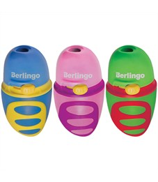 """Точилка пластиковая Berlingo """"Riddle"""" 1 отверстие, c регулятором заточки грифеля, контейнер, ассорти"""