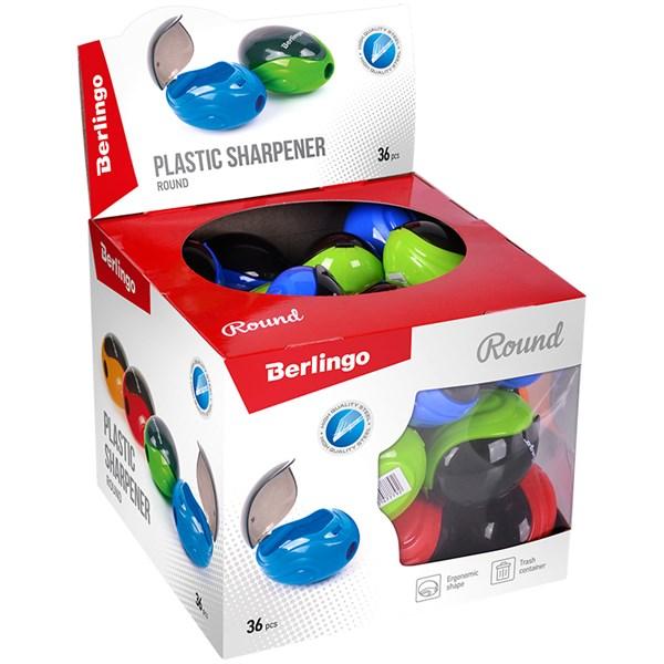 """Точилка пластиковая Berlingo """"Round"""" 1 отверстие, контейнер, дисплей"""
