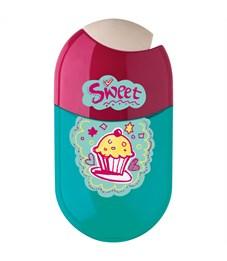 """Точилка пластиковая с ластиком Faber-Castell """"Cupcake"""", 2 отверстия, контейнер"""
