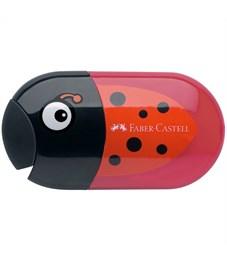 """Точилка пластиковая с ластиком Faber-Castell """"Ladybug"""", 2 отверстия, контейнер"""