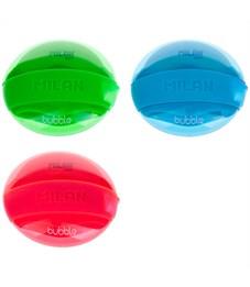 """Точилка пластиковая с ластиком Milan """"Bubble"""", 1 отверстие, контейнер, ассорти"""