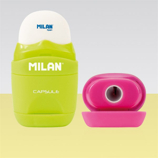 """Точилка пластиковая с ластиком Milan """"Capsule"""", 1 отверстие, контейнер, ассорти, блистер, европодвес"""