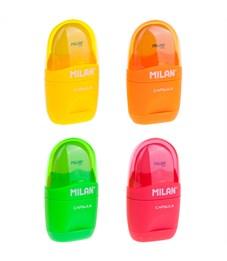 """Точилка пластиковая с ластиком Milan """"Capsule Fluo"""", 1 отверстие, контейнер, ассорти"""