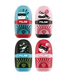 """Точилка пластиковая с ластиком Milan """"Capsule Super Heroes"""", 1 отверстие, контейнер, ассорти"""