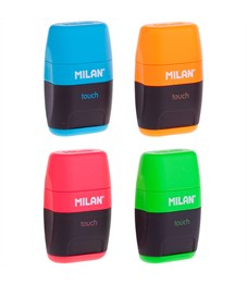 """Точилка пластиковая с ластиком Milan """"Compact Touch Duo"""", 2 отверстия, контейнер, ассорти"""