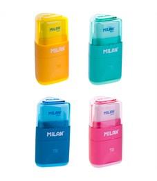 """Точилка пластиковая с ластиком Milan """"Tri"""", 1 отверстие, контейнер, ассорти"""