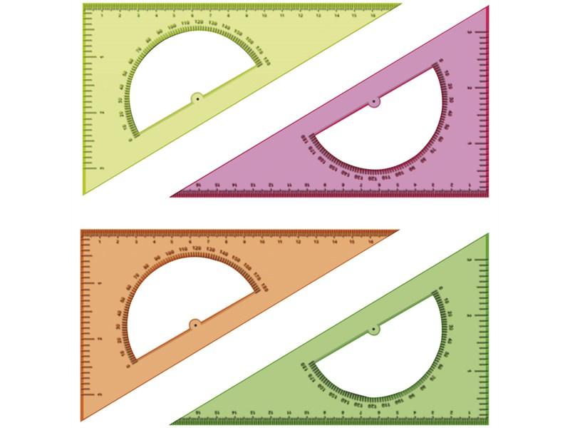 Треугольник 30°, 16см Стамм, прозрачный флуоресцентный, 4цв., с транспортиром