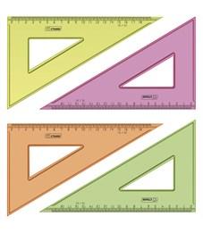Треугольник 30°, 18см Стамм, прозрачный флуоресцентный, 4цв.