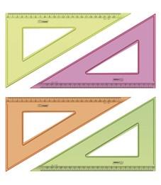 Треугольник 30°, 23см Стамм, прозрачный флуоресцентный, 4цв.
