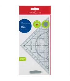 """Треугольник 45°, 22см Faber-Castell """"Grip"""", прозрачный, европодвес"""