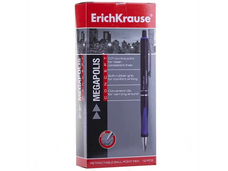 """Ручка шариковая автоматическая Erich Krause """"Megapolis Concept"""" синяя, 0,7мм, грип"""