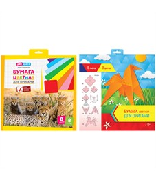 Цветная бумага для оригами и аппликации ArtSpace, 300*300мм, 8л., 8цв., в папке с европодвесом