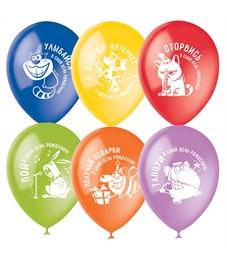 """Воздушные шары, 100шт., М12/30см, ПатиБум """"С Днем Рождения. Оторвись!"""", ассорти, пастель+декор"""