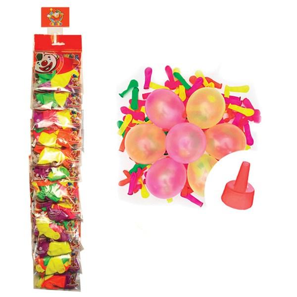 """Воздушные шары, 100шт, М2/5см, Поиск """"Водяные Бомбочки неон"""", насадка для воды, стрип-лента"""