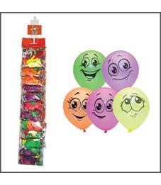 """Воздушные шары,  10шт., М10/25см, Поиск """"Улыбки"""", флуоресцентные, европодвес, стриплента"""