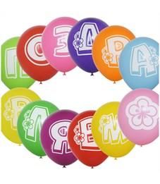 """Воздушные шары,  14шт., M10/25см, ПатиБум """"Буквы - Поздравляем"""", пастель+декор, шелк"""