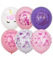 """Воздушные шары,  25шт., M12/30см, ПатиБум """"Единорог. День рождения"""", пастель+декор, шелк, ассорти"""