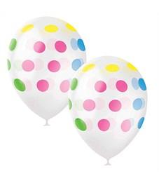 """Воздушные шары,  25шт, М12/30см, Поиск """"Горошек разноцветный"""", декоратор, шелк"""