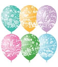 """Воздушные шары,  25шт., М12/30см, Поиск """"Праздничная тематика. Цветы"""", пастель, растровый рисунок"""