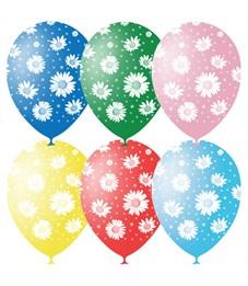 """Воздушные шары,  25шт., M12/30см, Поиск """"Ромашки"""", пастель+декор, растровый рисунок"""