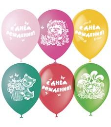 """Воздушные шары,  25шт., М12/30см, Поиск """"С Днем Рождения"""", пастель+декор"""