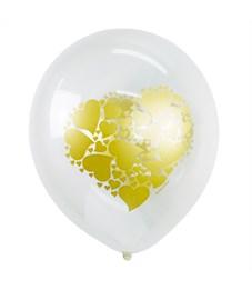 """Воздушные шары,  25шт., M12/30см, Поиск """"Сердце золото"""""""