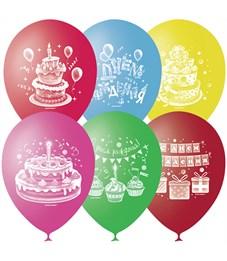 """Воздушные шары,  50шт., M10/25см, Поиск """"С Днем Рождения"""", пастель+декор"""