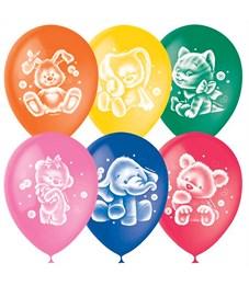 """Воздушные шары,  50шт., M12/30см, ПатиБум """"Плюшевые друзья"""", пастель+декор"""