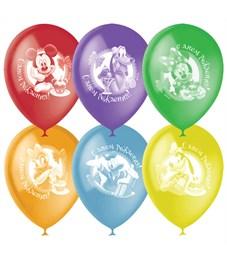 """Воздушные шары,  50шт., М12/30см, Поиск Disney """"С Днем Рождения"""", ассорти, пастель+декор, растровый"""
