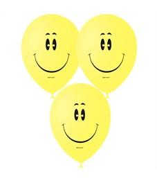 """Воздушные шары,  50шт., М12/30см, Поиск """"Смайл YELLOW"""", пастель, шелк"""