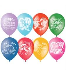 """Воздушные шары,  50шт., M12/30см, Поиск """"Свадебная тематика"""", пастель+декор"""